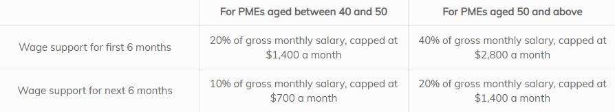 Wage support for first and next 6 months for PMEs age between 40 and 50, and 50 and above