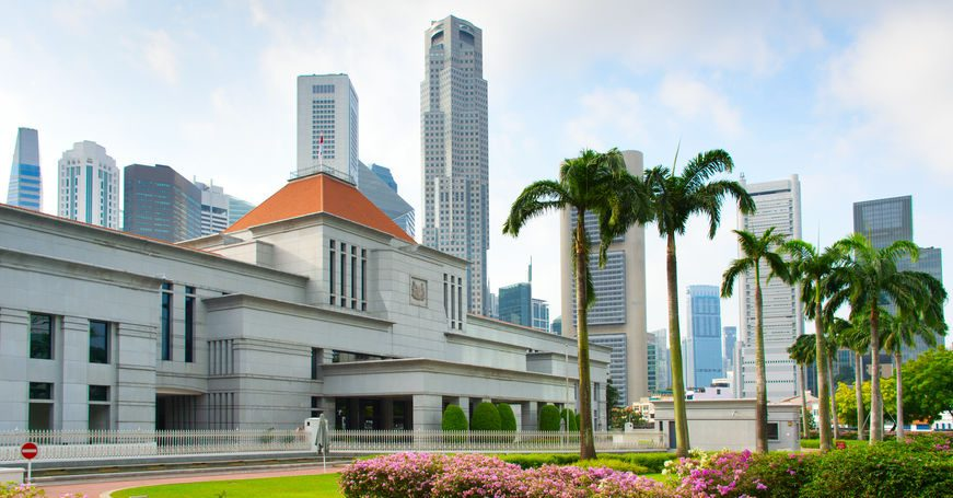 A photo of the Parliament building of Singapore