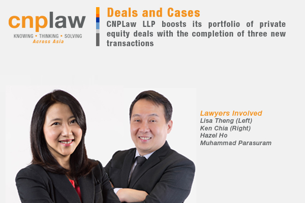 CNPLaw LLP boosts its portfolio of private equity deals with the completion of three new transactions