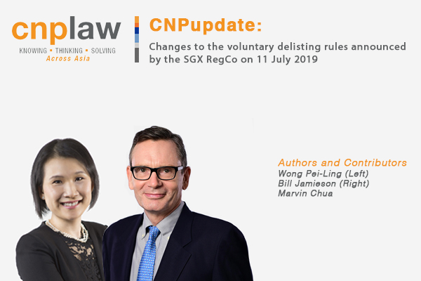 Changes to the voluntary delisting rules announced by the SGX RegCo on 11 July 2019