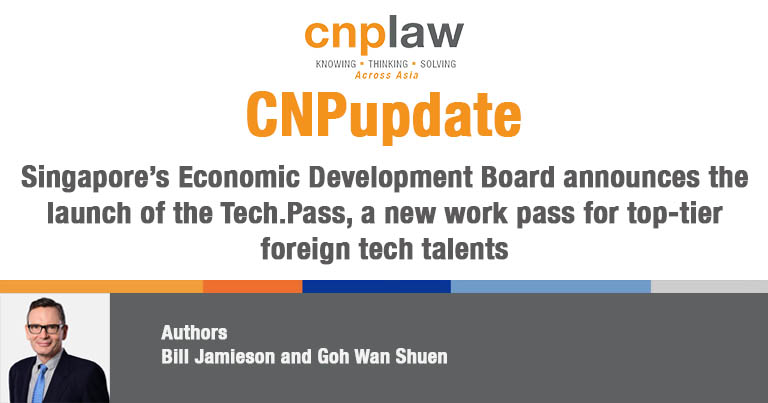 Singapore's Economic Development Board announces the launch of the Tech.Pass, a new work pass for top-tier foreign tech talents