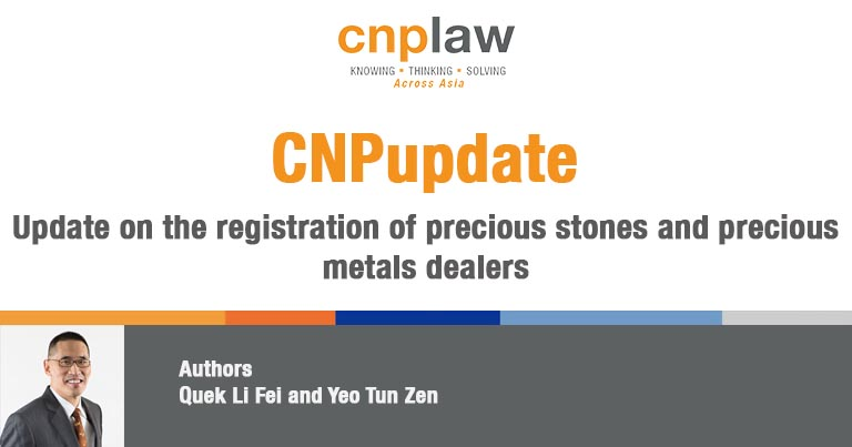 Update on the registration of precious stones and precious metals dealers